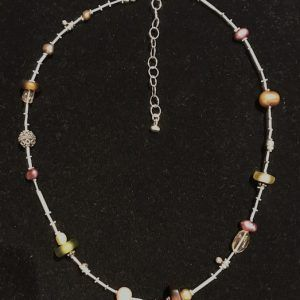 Glass Pearl Silver Medley Necklace