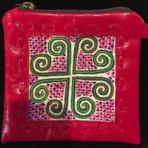 Karen Silk Thai Red Leather Coin Purse